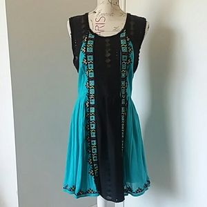 Free People blue embroidered dress NWT size 12